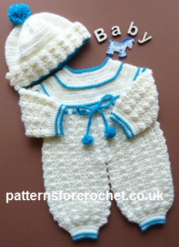 a55629b5036e Free baby crochet pattern rompers and bobble hat usa