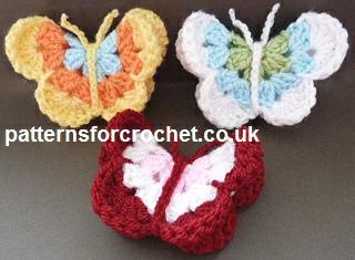 Free Crochet Pattern For Butterfly Motif : Free crochet pattern butterfly motif usa