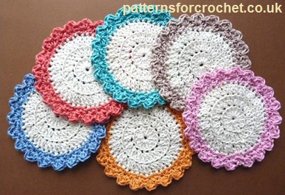 Free crochet pattern circular cotton coaster usa