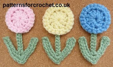 Free crochet pattern small flower applique usa
