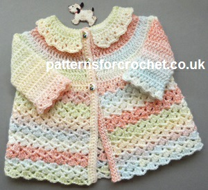 Free Baby Crochet Pattern Matinee Coat With Collar Usa