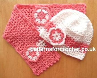 Free Crochet Pattern Girls Hat Scarf Set Usa